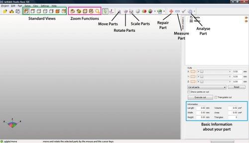 Окно программы netfabb, подготовка модели в 3d печать